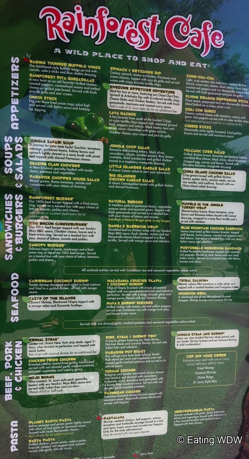 Rainforest Cafe Prices Menu San Francisco