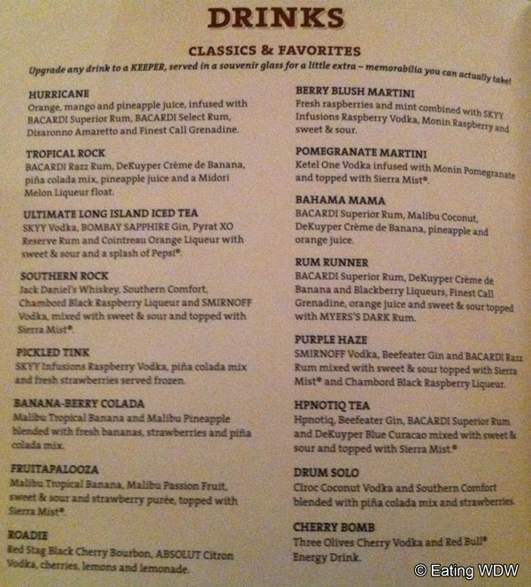 Menu Drinks Hard Rock Cafe