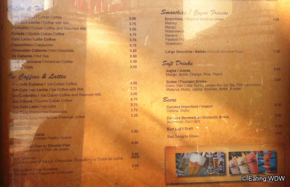 Bongos Cuban Cafe Express Downtown Disney Menu