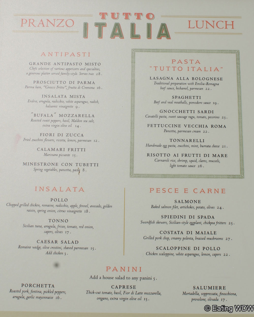 Epcot menus eating wdw for Tutete italia