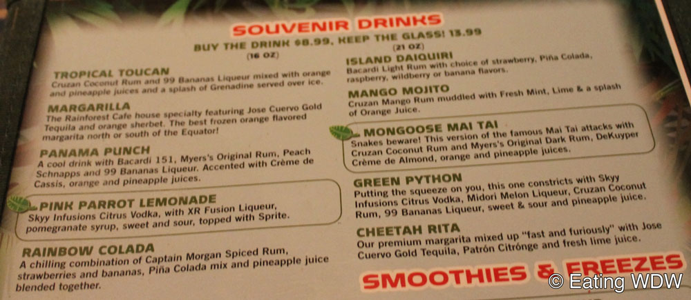 The Rainforest Cafe Drink Menu