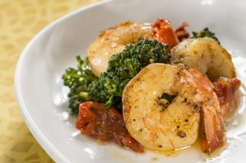 2013 food wine Garlic Shrimp with Tomatoes, Lemon and Broccoli Rabe