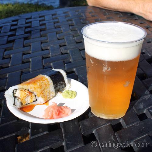 2013-food-wine-japan-teriyaki-chicken-hand-roll-sapporo-draft-beer