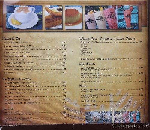 Bongos Cuban Cafe Window Menu Downtown Disney