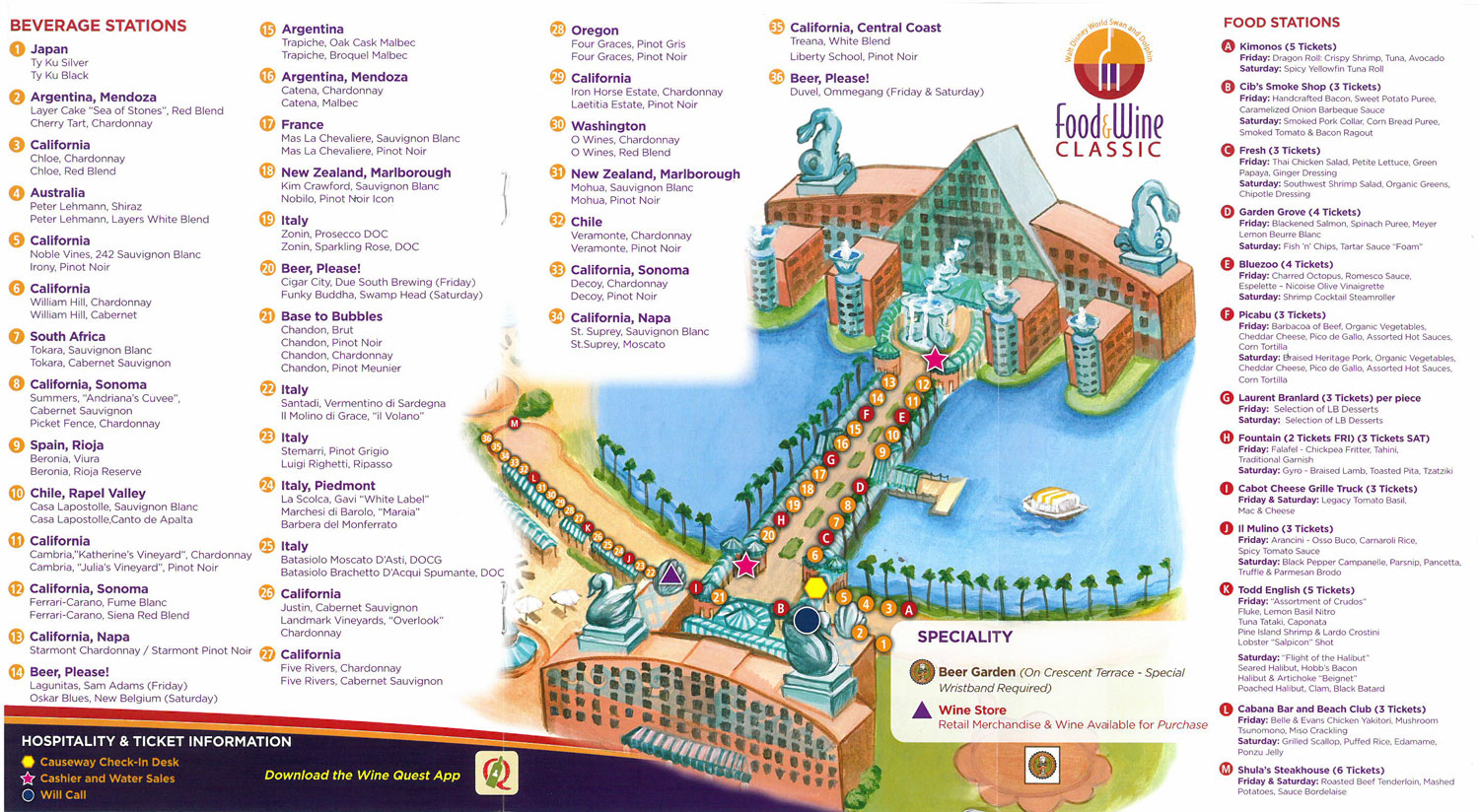 Walt disney world swan and dolphin fifth annual food wine classic 2014 swan dolphin food wine classic map gumiabroncs Images