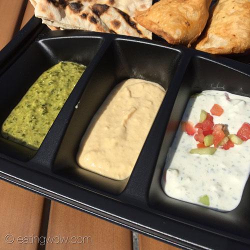 namaste-cafe-food-truck-dipping-safari-coriander-chutney-hummus-cucumber-raita