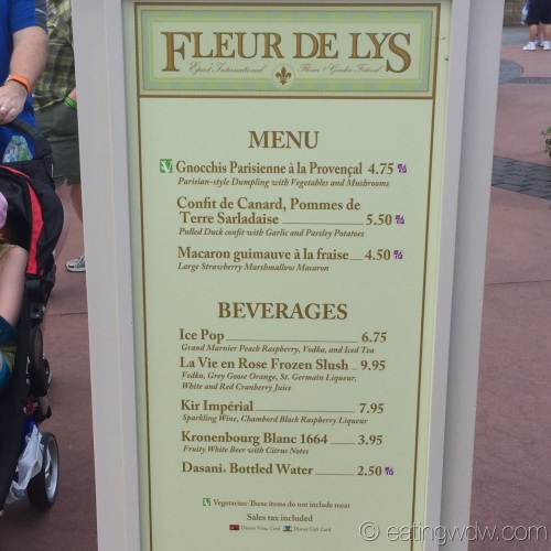 2015 Epcot International Flower & Garden Festival Menu Prices Fleur de Lys