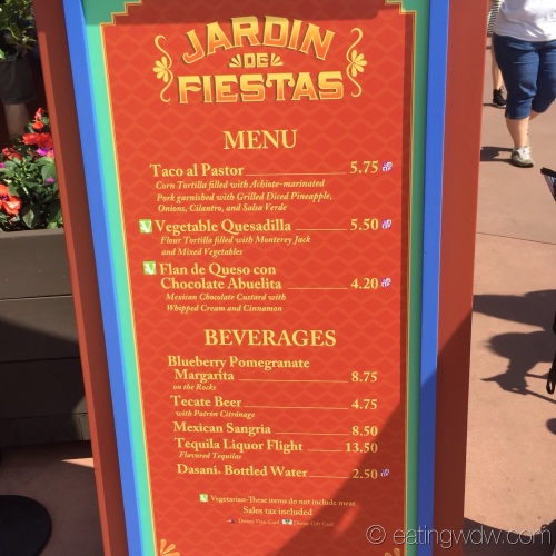 2015 Epcot International Flower & Garden Festival Menu Prices Jardin de Fiestas